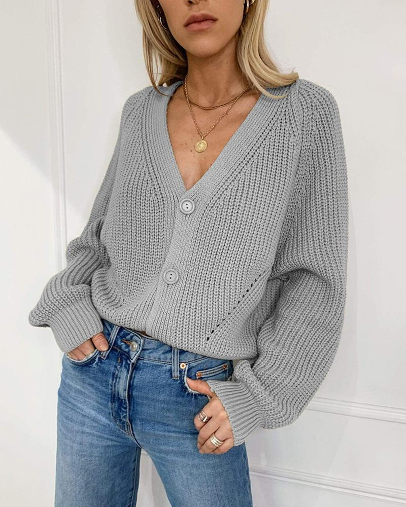Solid V-neck Lantern Sleeve Knit Cardigan фото