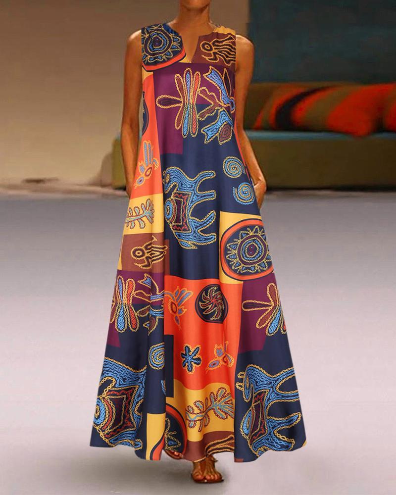 Random Print Casual Dress фото