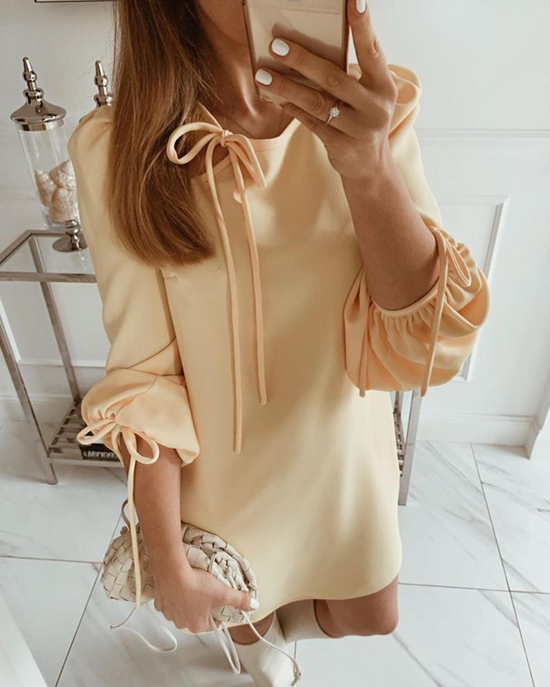 chicme / Solid Tie-Up Detail Mini Dress