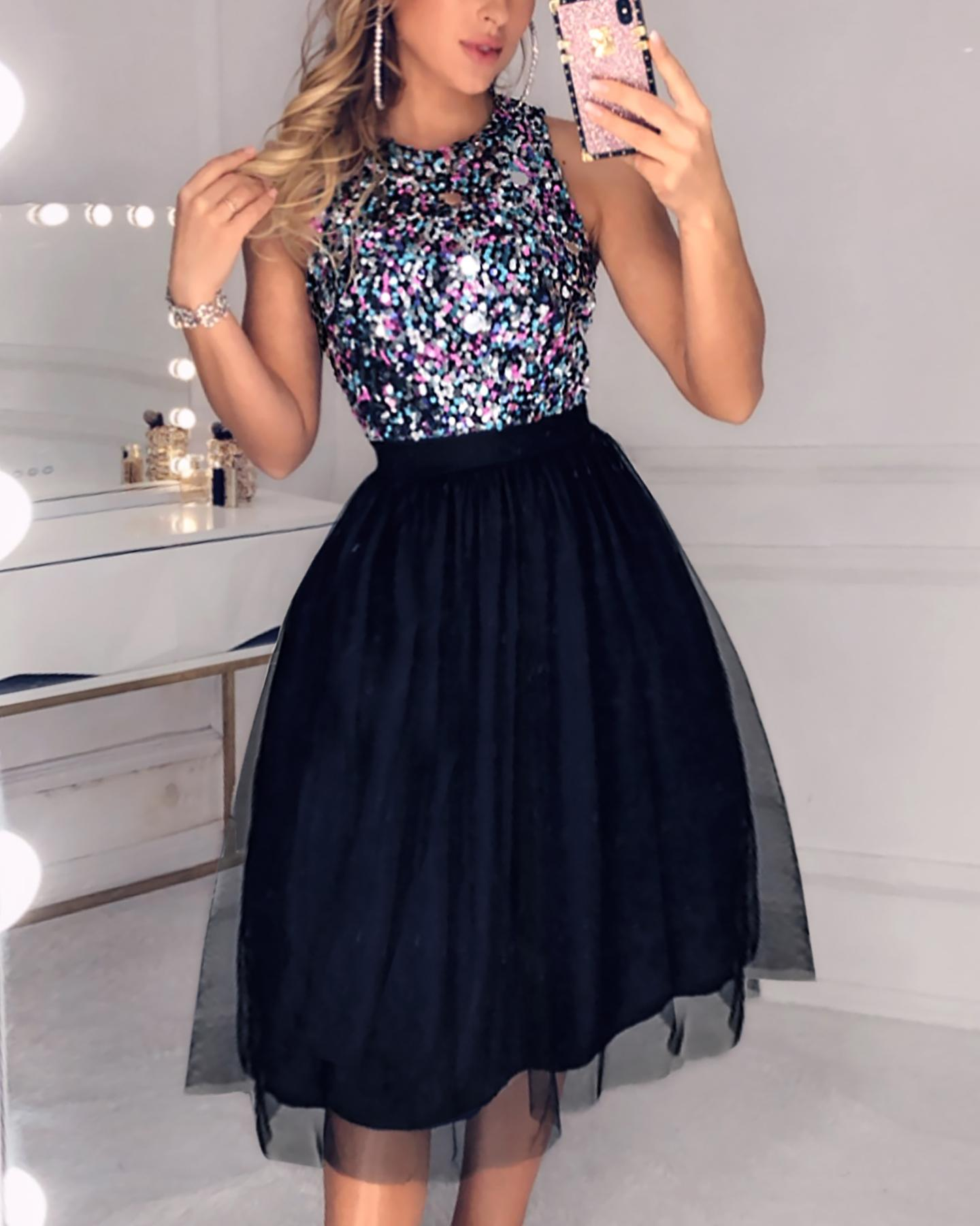 Sleeveless Sequins Colorblock Mesh Insert Ruffles Ruched Dress фото