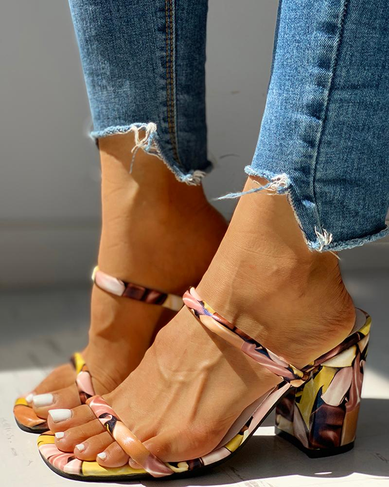 ivrose / Colorful Open Toe Chunky Heeled Sandals