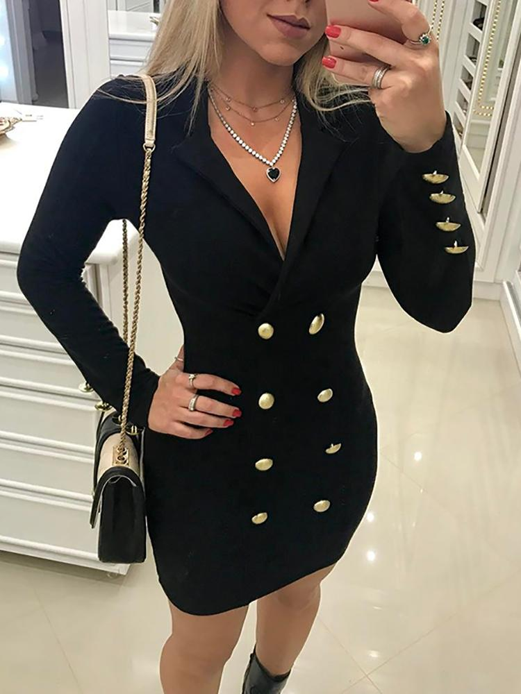 Plunge Neck Double-Breasted Blazer Dress