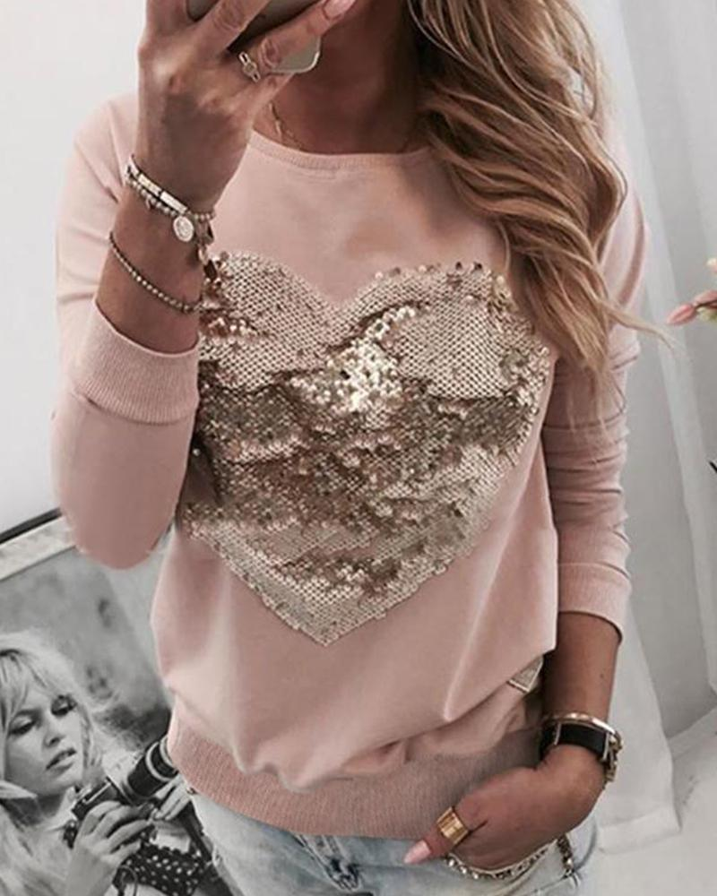 Sequins Heart Pattern Round Neck Blouse фото