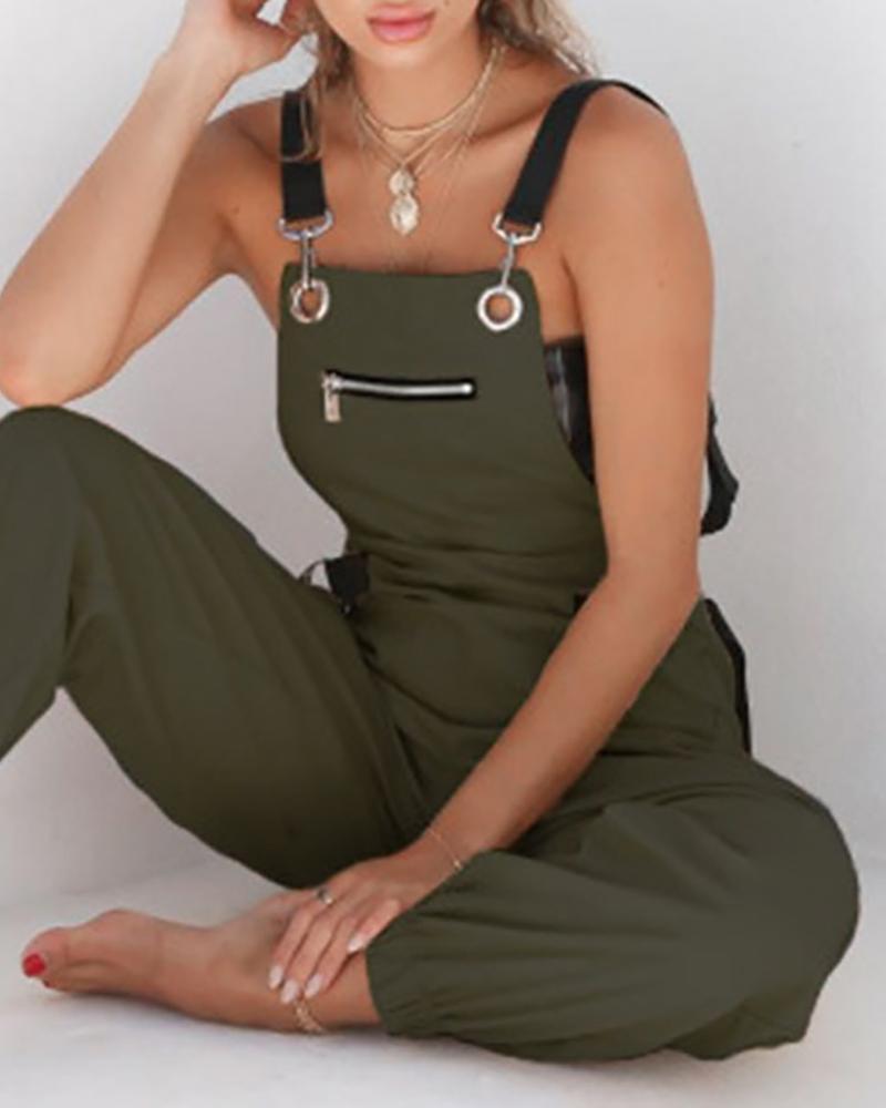 Hang Buckle Zipper Detail Suspender Jumpsuit фото