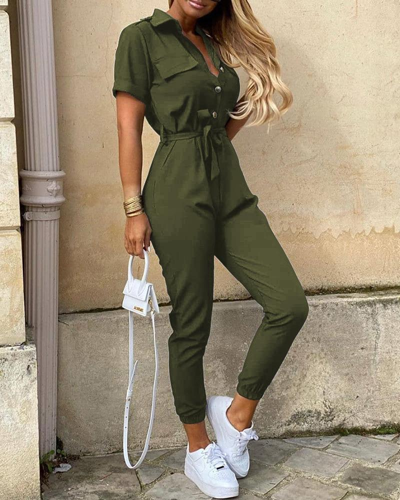 Solid Short Sleeve Buttoned Jumpsuit фото