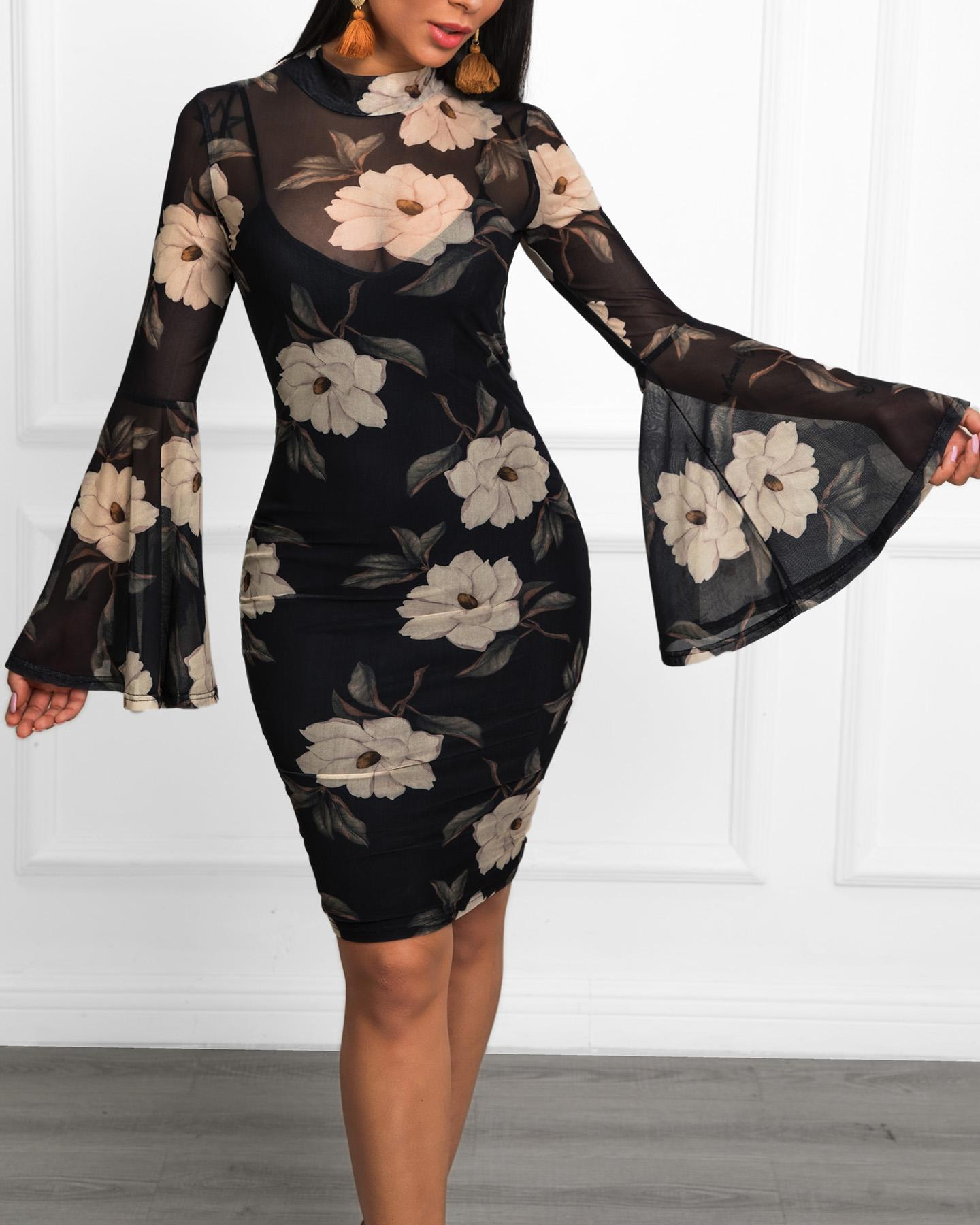 Floral Print Bell Sleeve Bodycon Dress фото