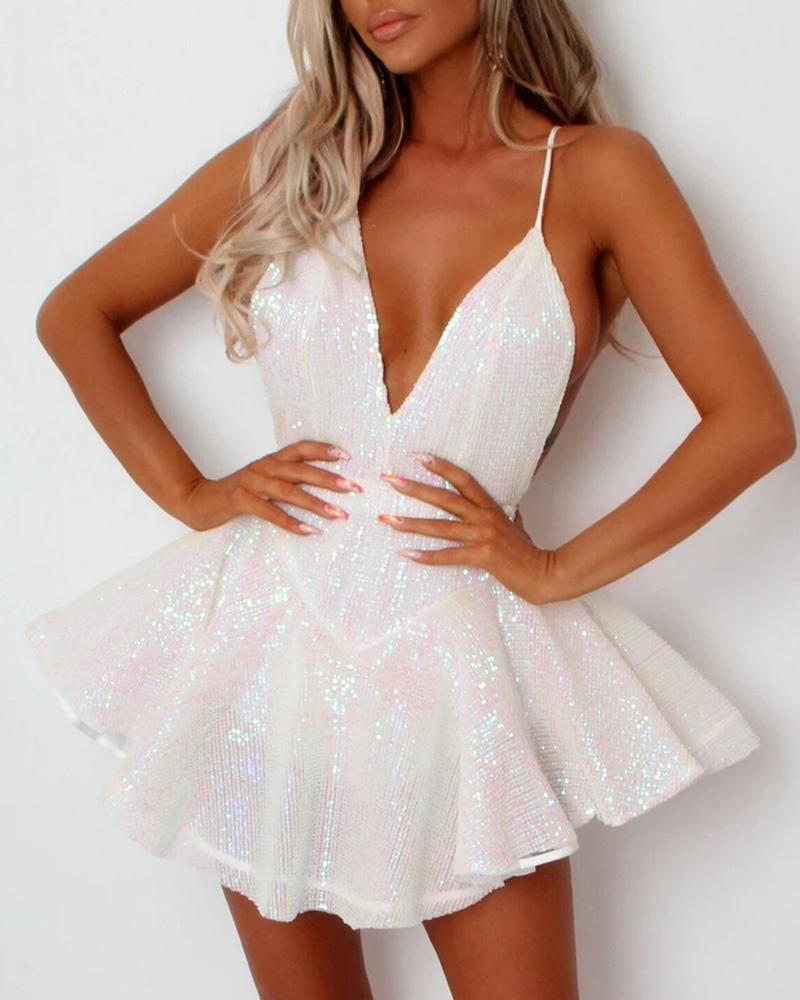 Glitter Plunge Sleveless Party Sequins Dress фото