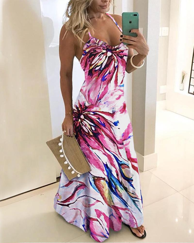 ivrose / Spaghetti Strap Floral Print Maxi Dress