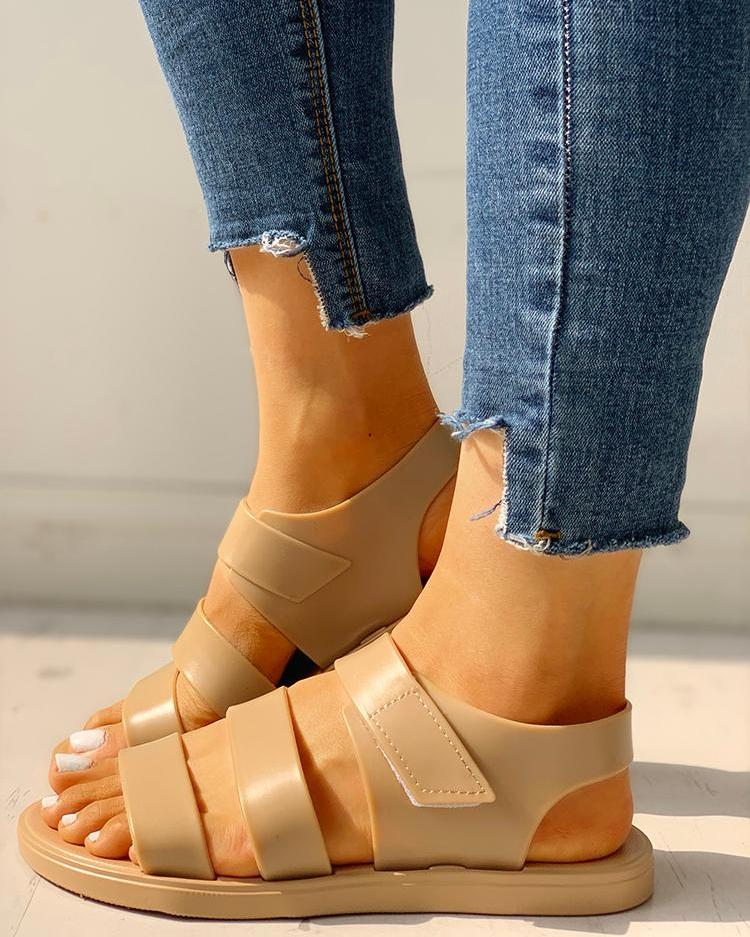 Multi-strap Open Toe Non-Slip Flat Sandals