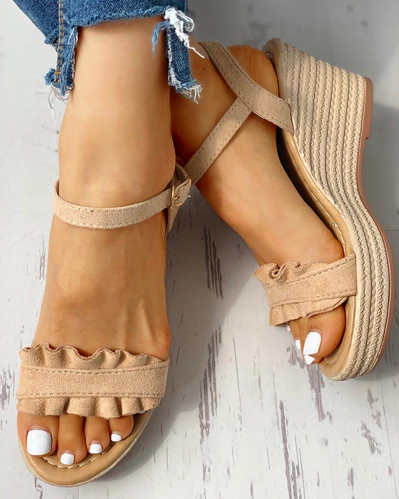 chicme / Suede Frill Hem Espadrille Wedge Sandals