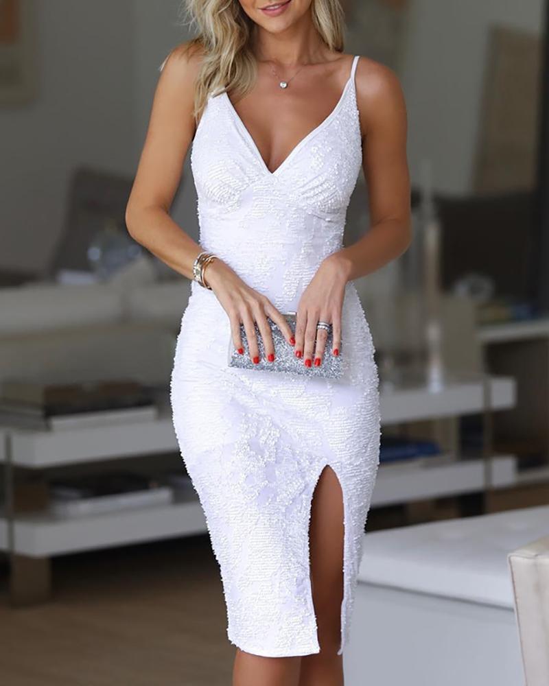 chicme / Vestido de lentejuelas con abertura en la correa de espagueti