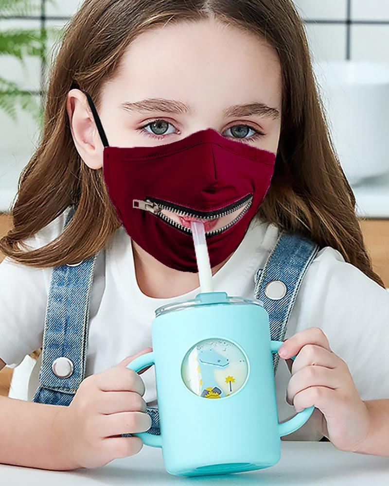 Zipper Design Solid Breathable Mouth Mask For Kids фото
