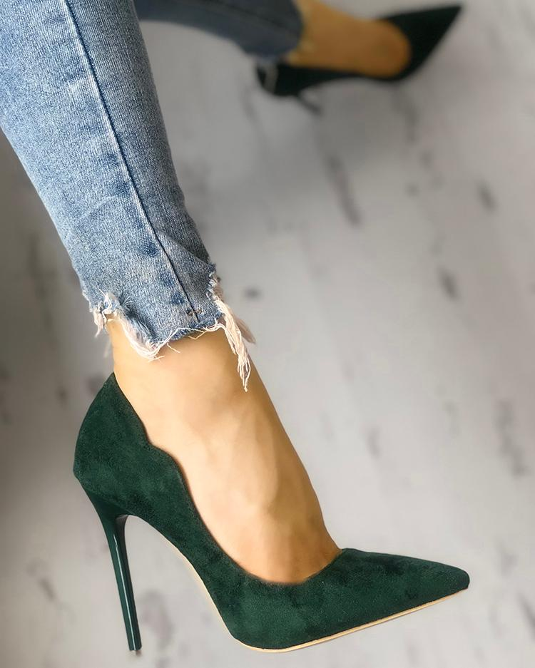Solid Suede Pointed Toe Thin Heels