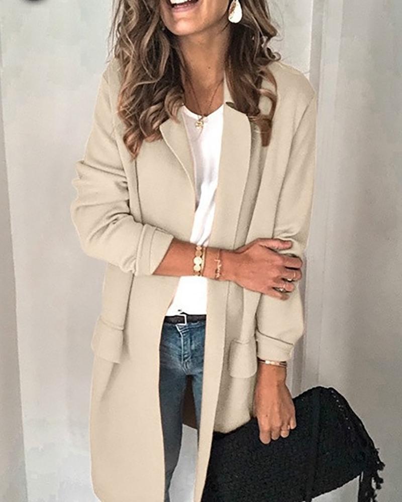 Solid Pocket Design Long Sleeve Blazer Coat фото