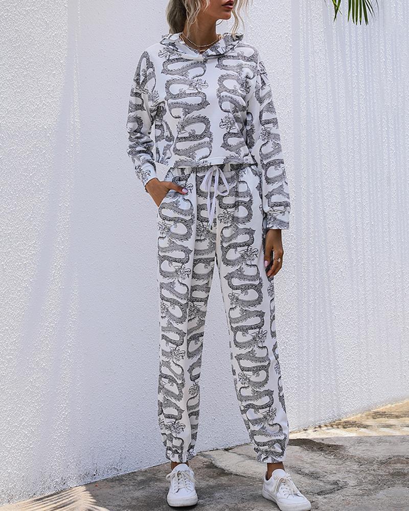 boutiquefeel / Dragon Print Hooded Top & Drawstring Pants Set