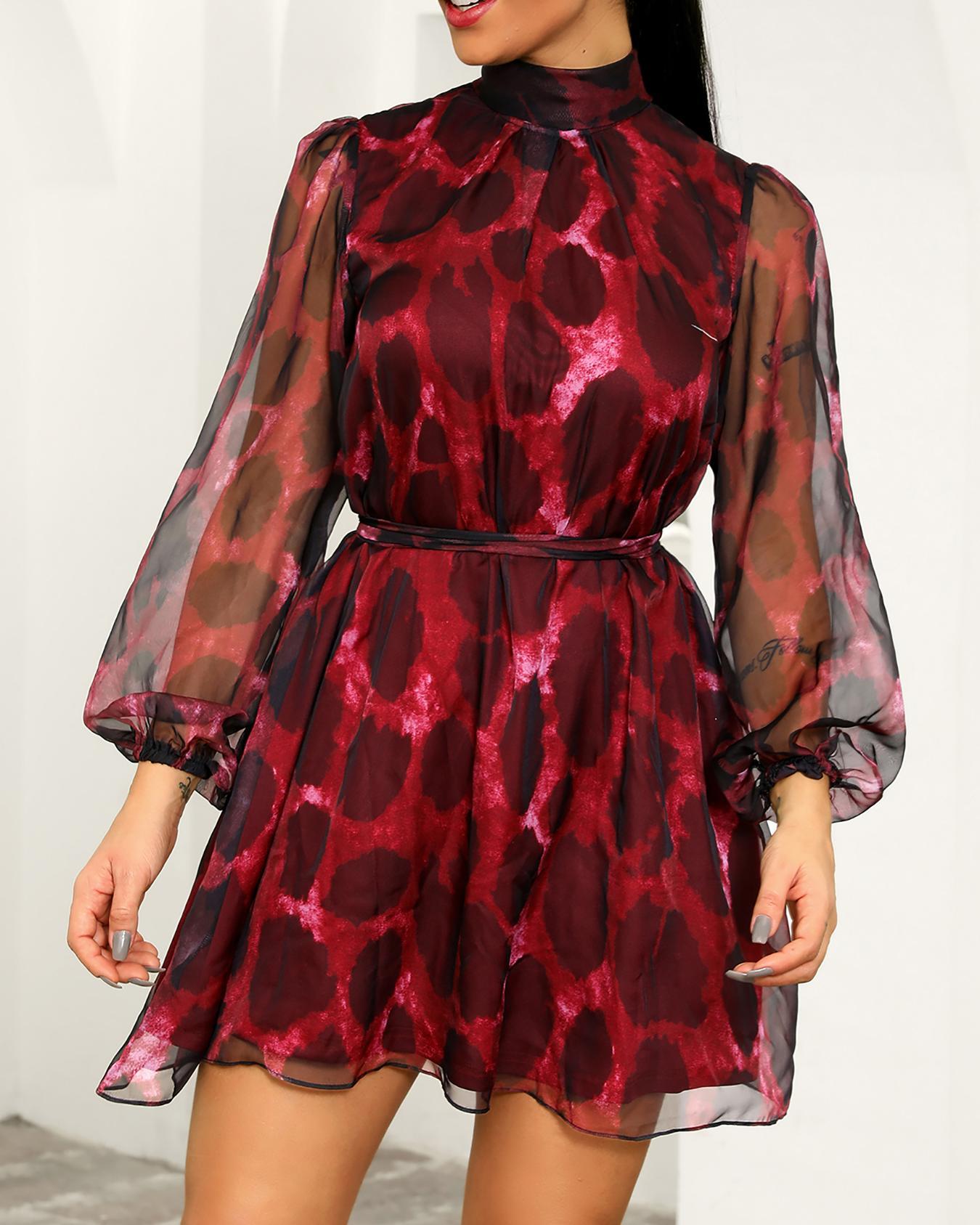 Leopard Sheer Mesh Overlay Belted Dress