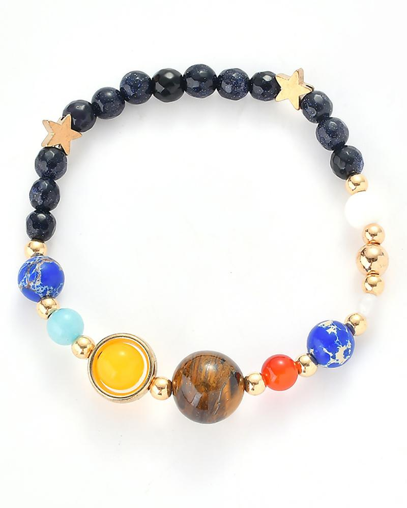 Colorful Bead Planet Design Bracelet