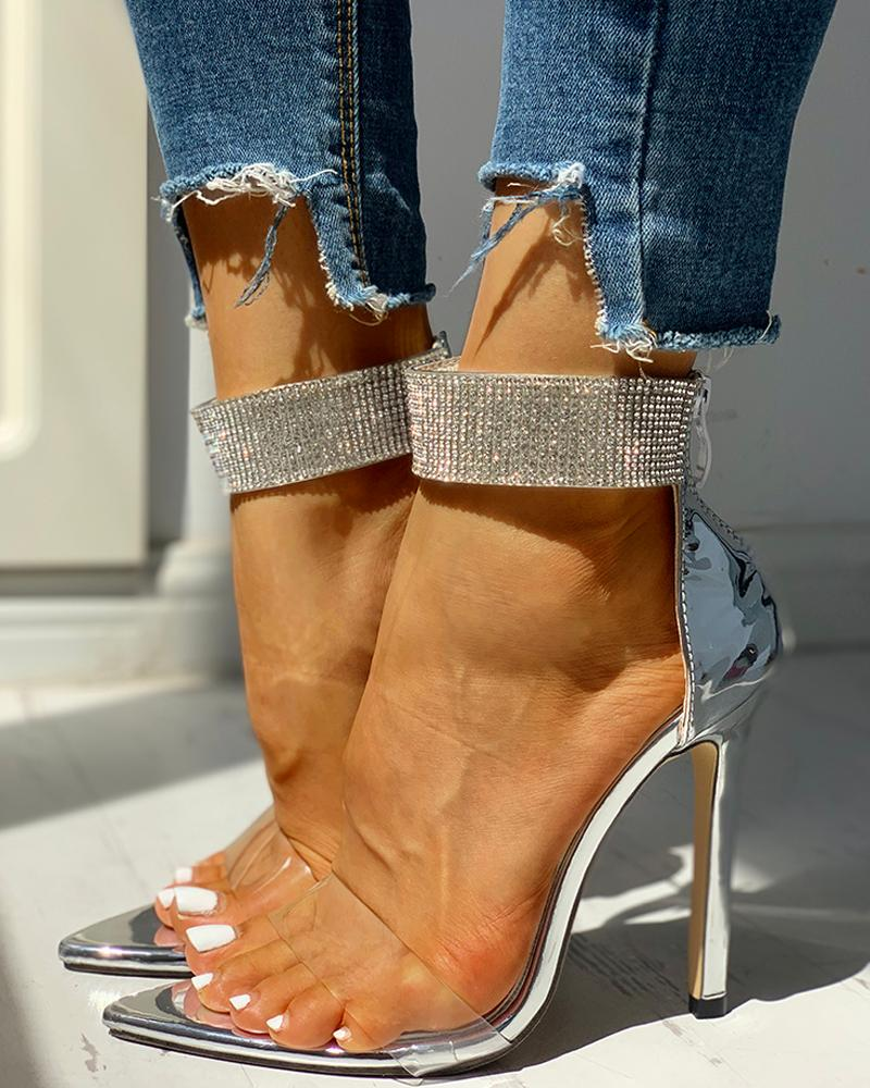 ivrose / Transparent Strap Studded Detail Thin Heels