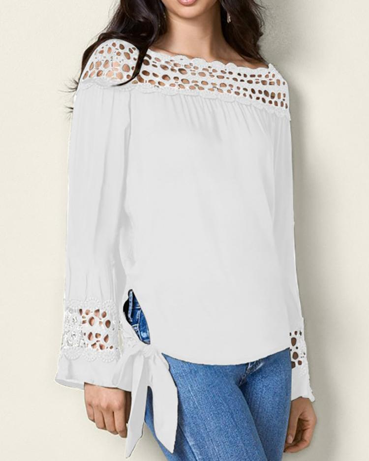 Lace Hollow Out Knot Side Blouse
