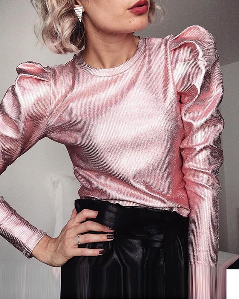 Metallic Color Puff Sleeve Top фото