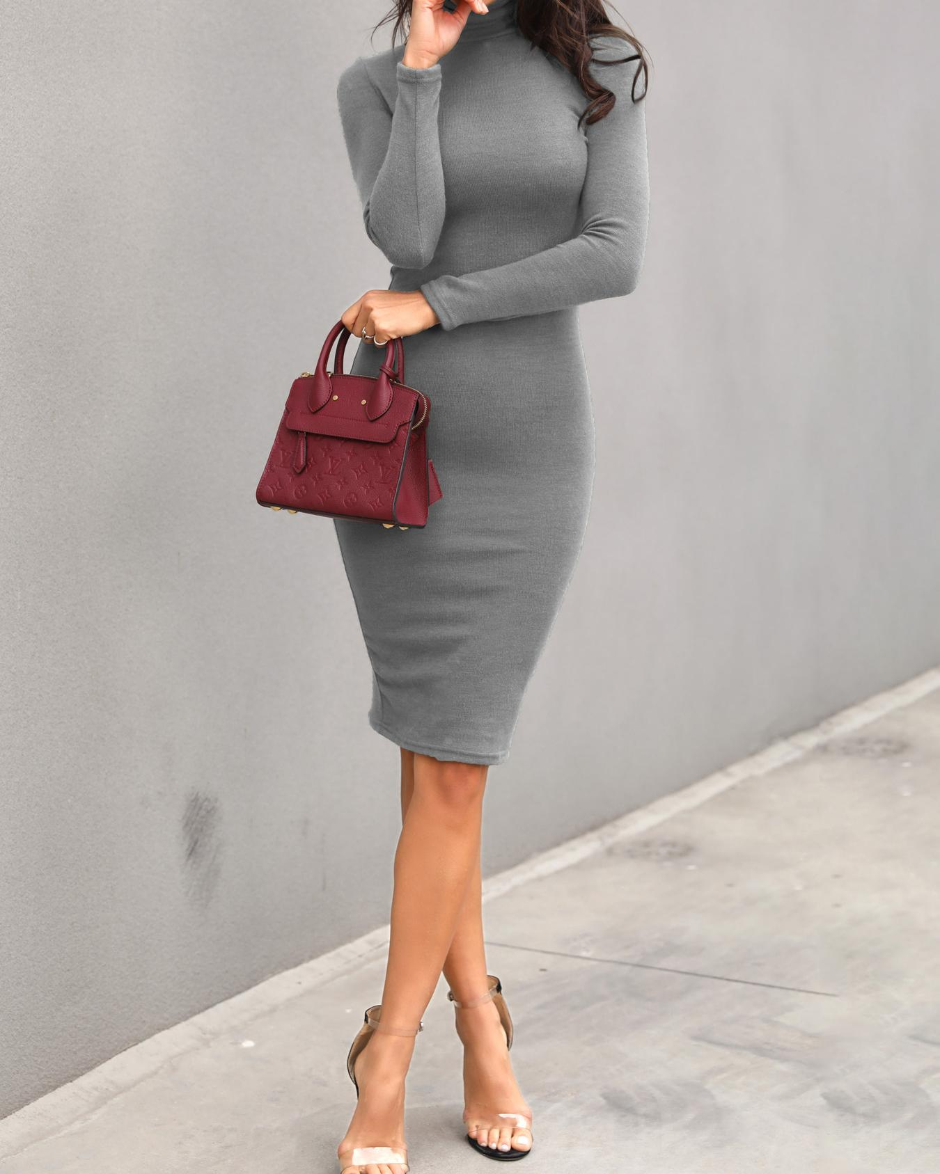 Solid High Neck Long Sleeve Midi Dress фото