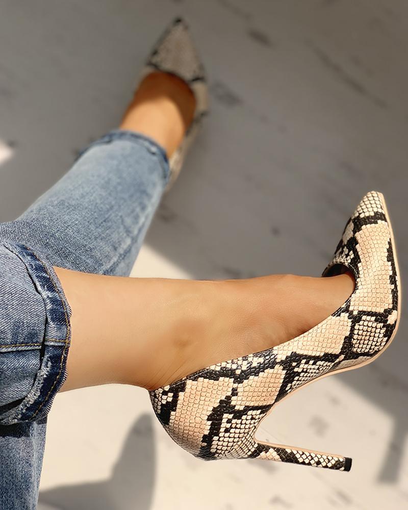 Pointed Toe Snakeskin Print Thin Heels