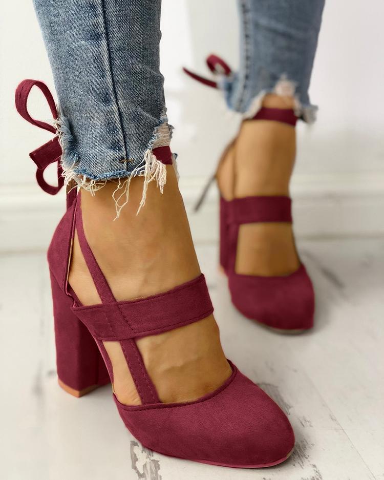 chicme / Moda Caged Tacones Chunky Zapatos