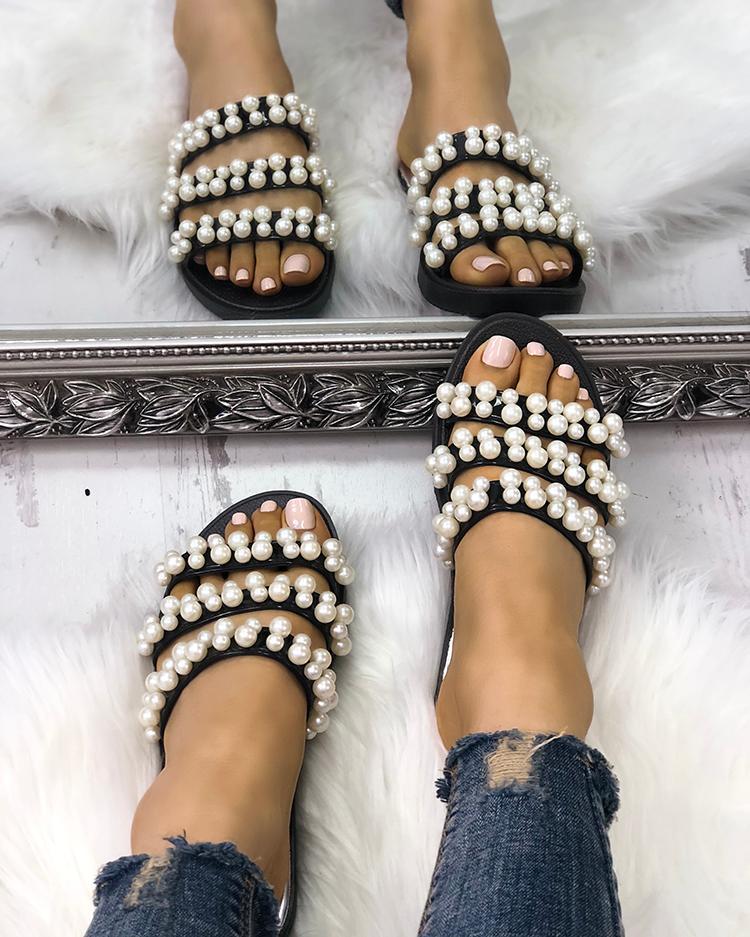 Shiny Embellished Thick Strap Flat Sandals