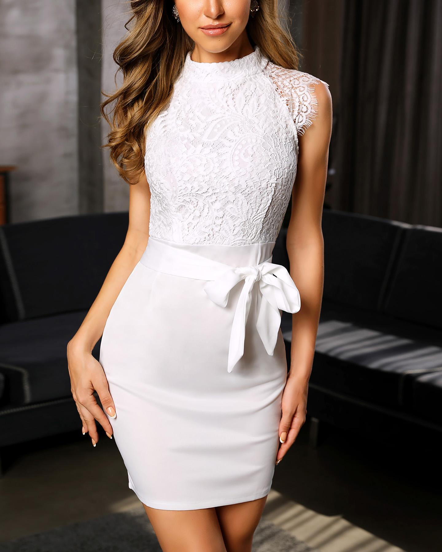 Eyelash Lace Bodice Bodycon Dress фото