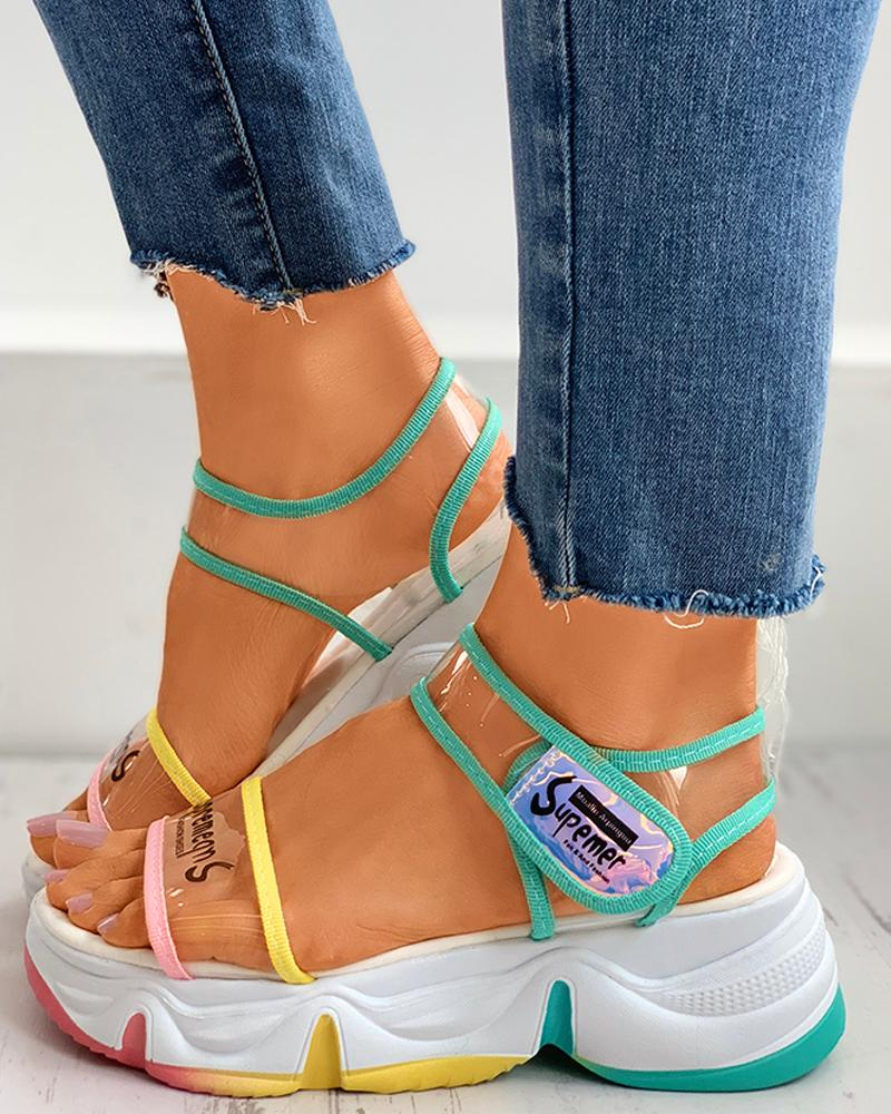 Clear Perspex Letter Print Colorblock Muffin Sandals фото