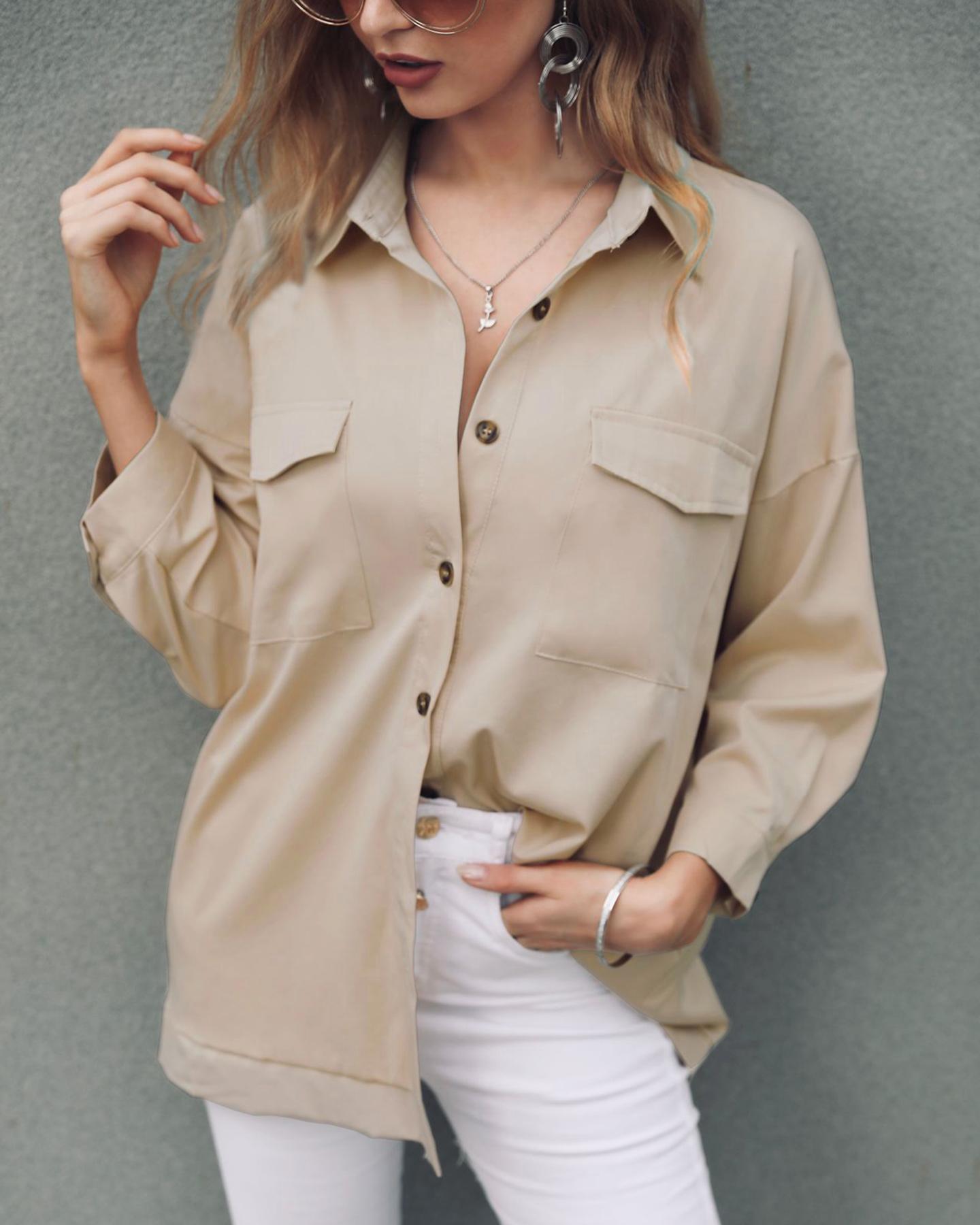 ivrose / Camisa casual de manga larga con bolsillo sólido