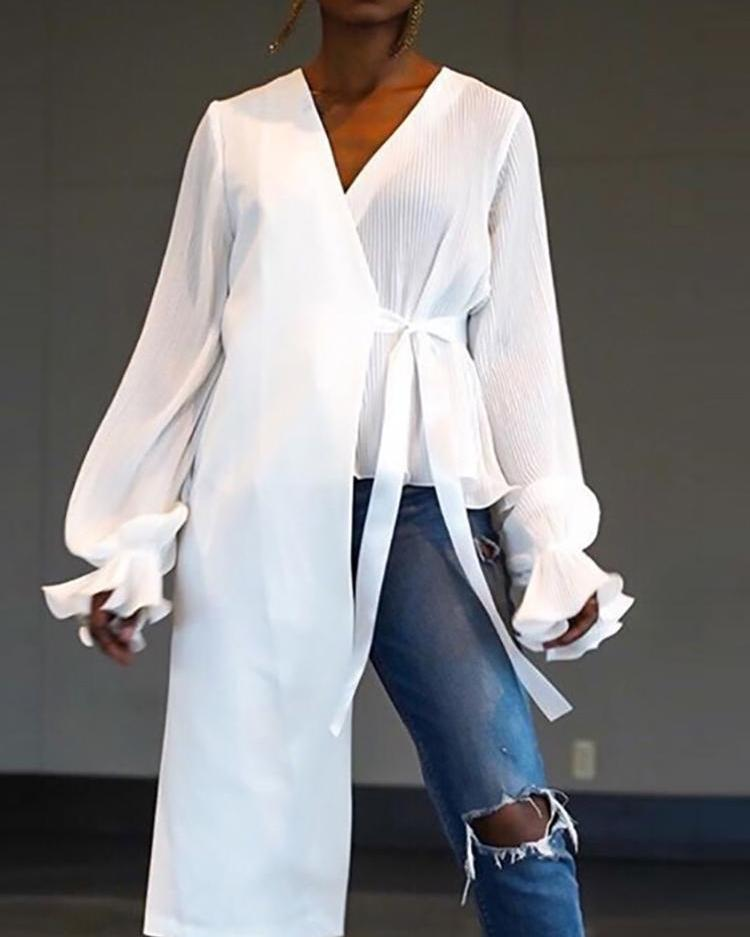 Lantern Sleeve Tie Side Asymmetric Blouse