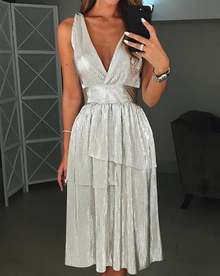 ivrose / Vestido de fiesta plisado brillante con cuello en V y diseño en capas
