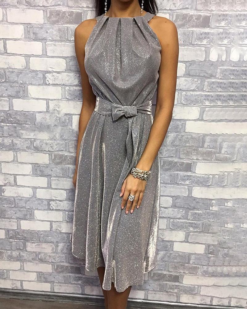 boutiquefeel / Vestido con detalle fruncido sin mangas con purpurina