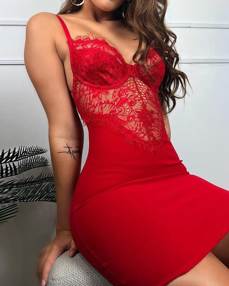 joyshoetique / Spaghetti Strap Eyelash Lace Insert Dress