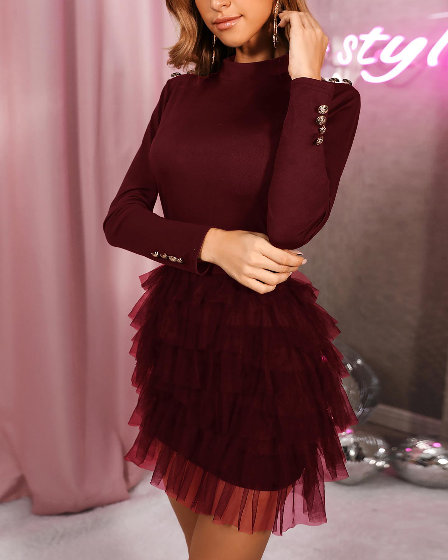 Solid Organza Spliced Mini Dress фото