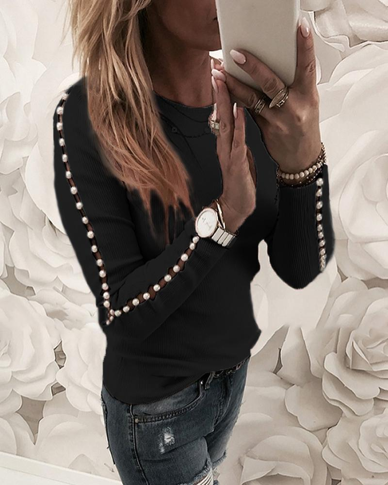 Beaded Ribbed Round Neck Blouse фото