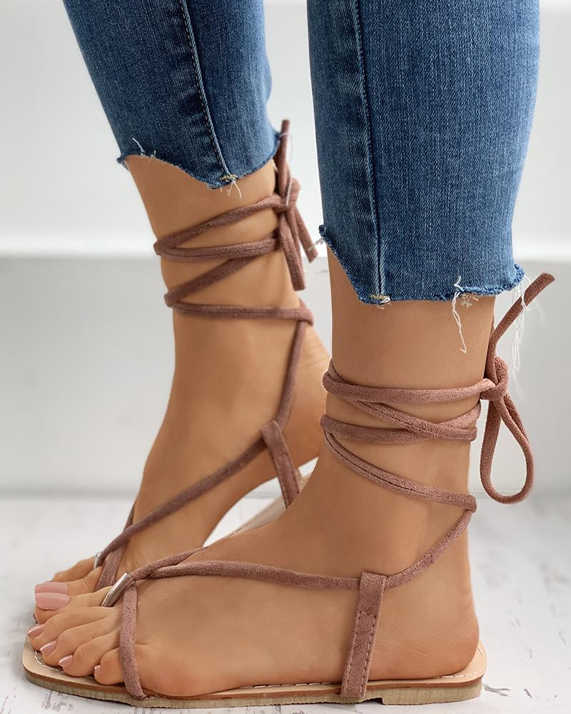Suede Lace-Up Tied Leg Flat Sandals фото