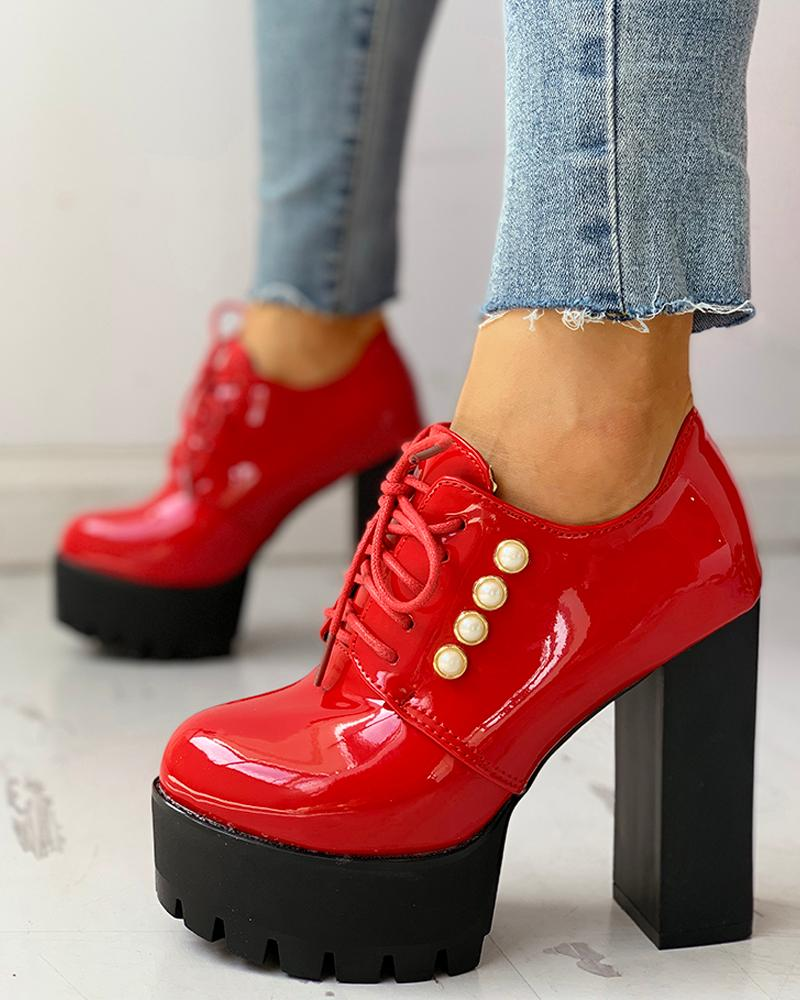 chicme / Solid PU Lace-Up Platform Chunky Heels