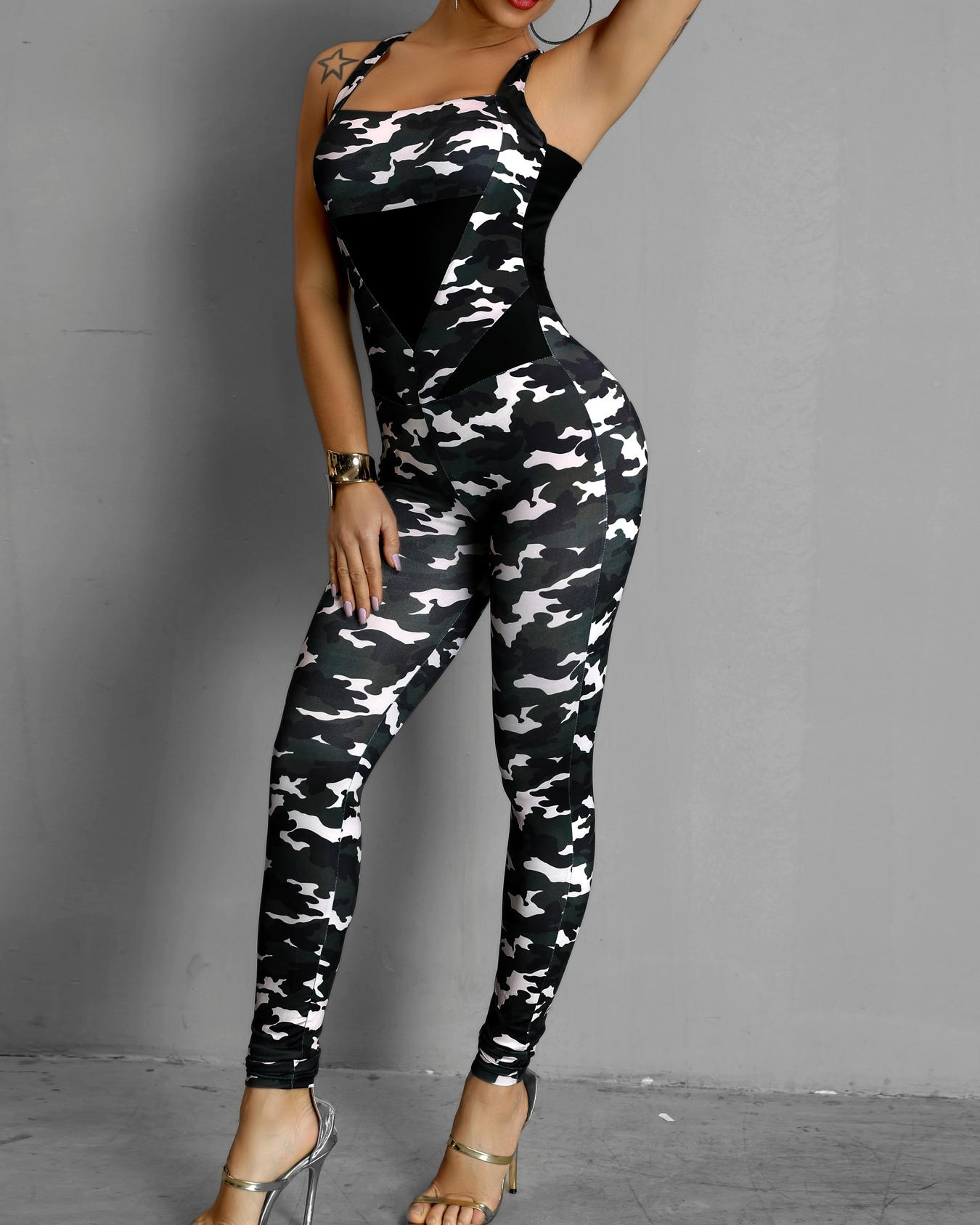Camouflaged Crisscross Backless Slinky Jumpsuit
