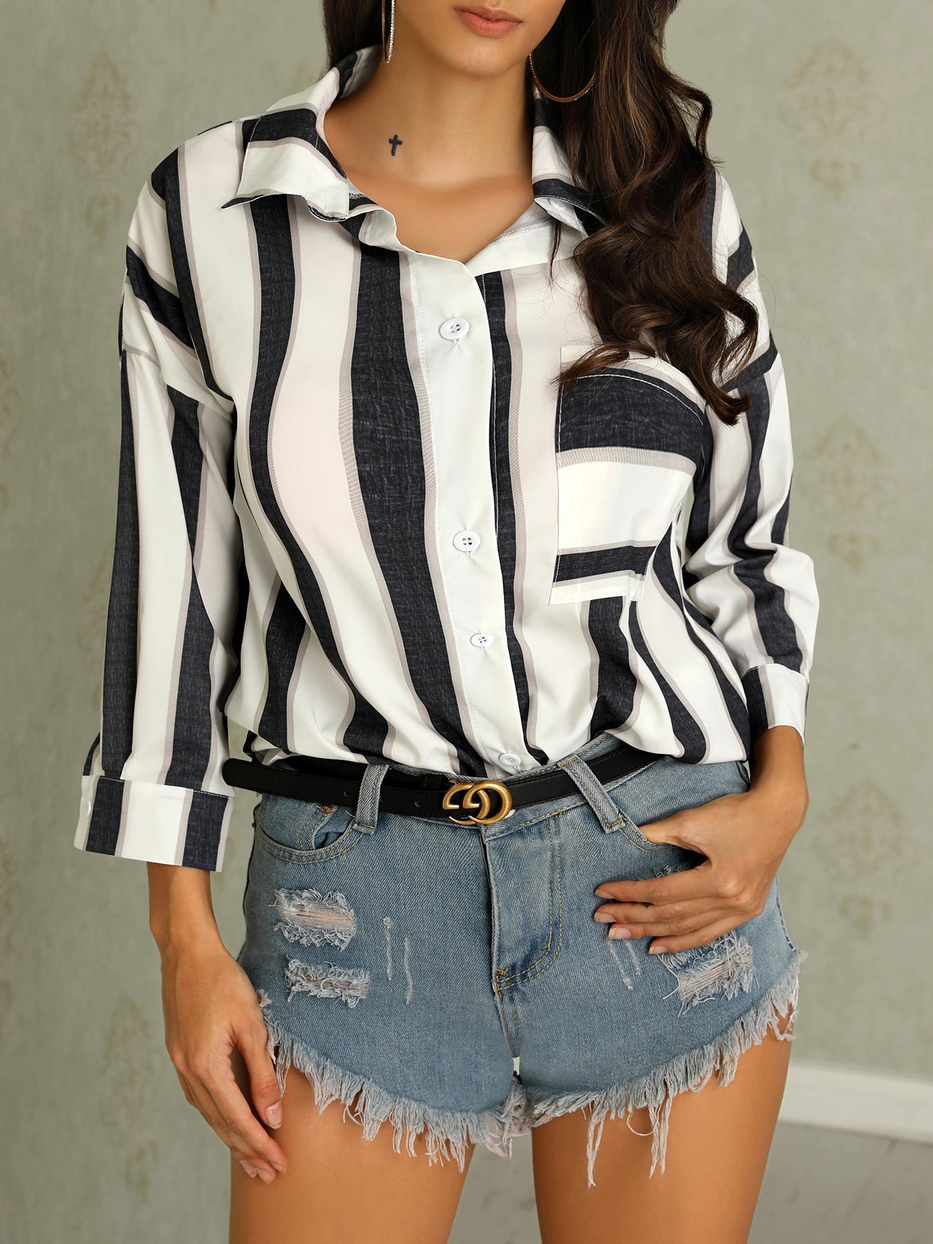 Fashion Women Buttoned Stripe Print Blouse фото