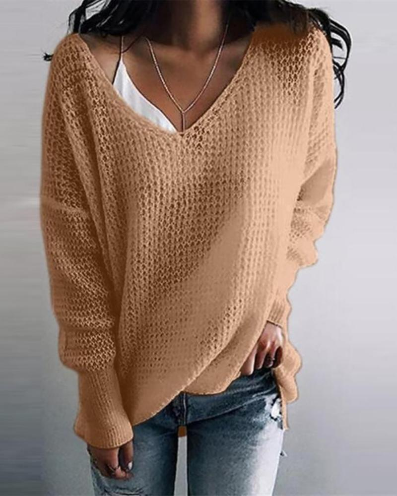 Solid Long Sleeve Casual Sweater, Khaki