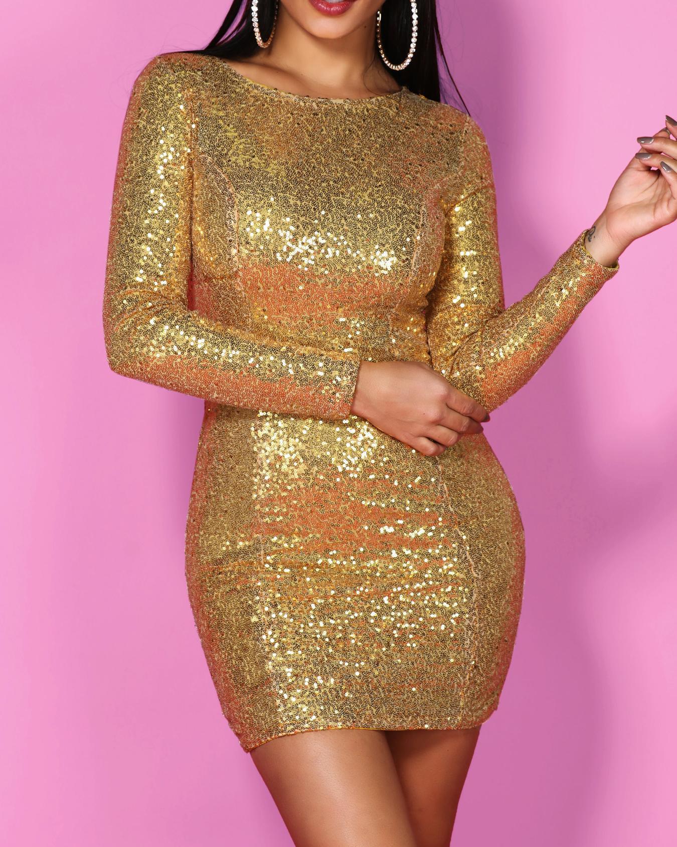 Shiny Long Sleeve Bodycon Sequin Party Dress