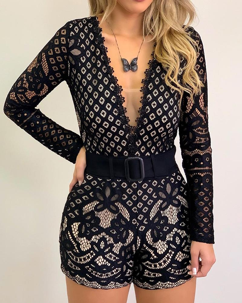 Plunge Long Sleeve Lace Romper(without belt)