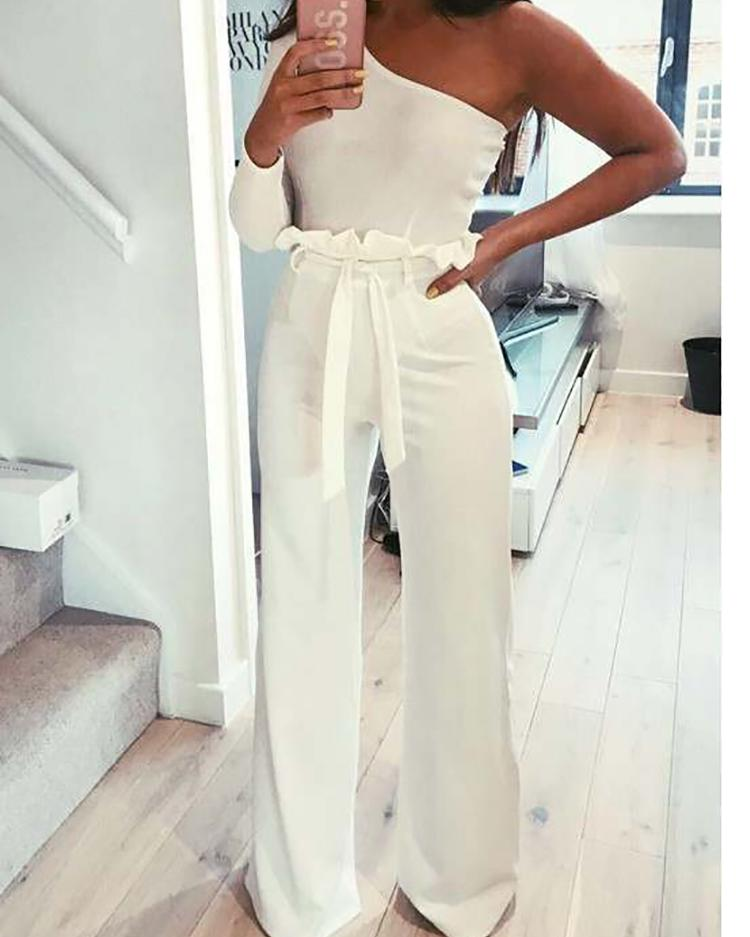 Frills Belted High Waisted Wide Leg Pants фото