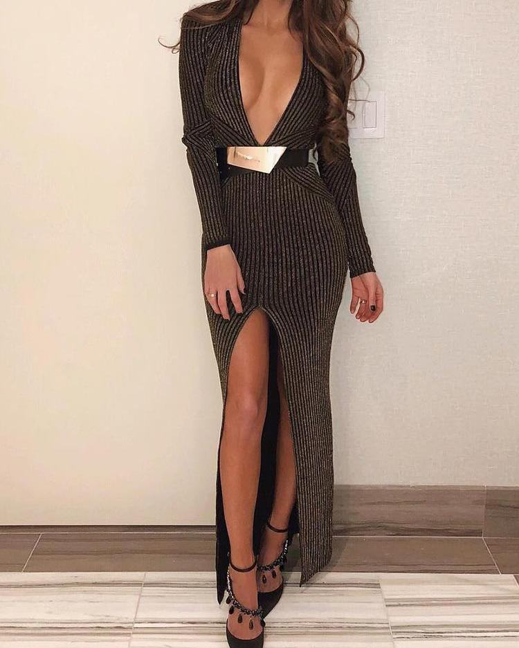 chicme / Stripes Plunge Thigh Slit Evening Dress