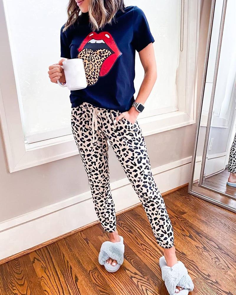 ivrose / Conjunto de top e calça casual com estampa de lábios leopardo