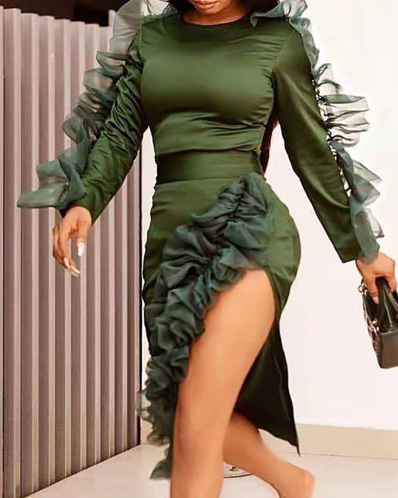 Solid Round Neck Frill Mesh Insert Slit Bodycon Dress, Green