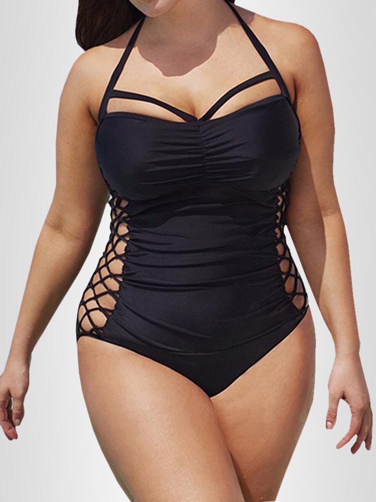Women Halter Neck Bandage Solid Lace Monokini Swimsuit