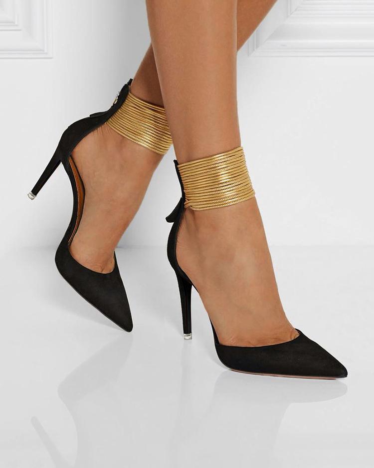 chicme / Elegantes tobillo, anillos, punta estrecha, tacones altos